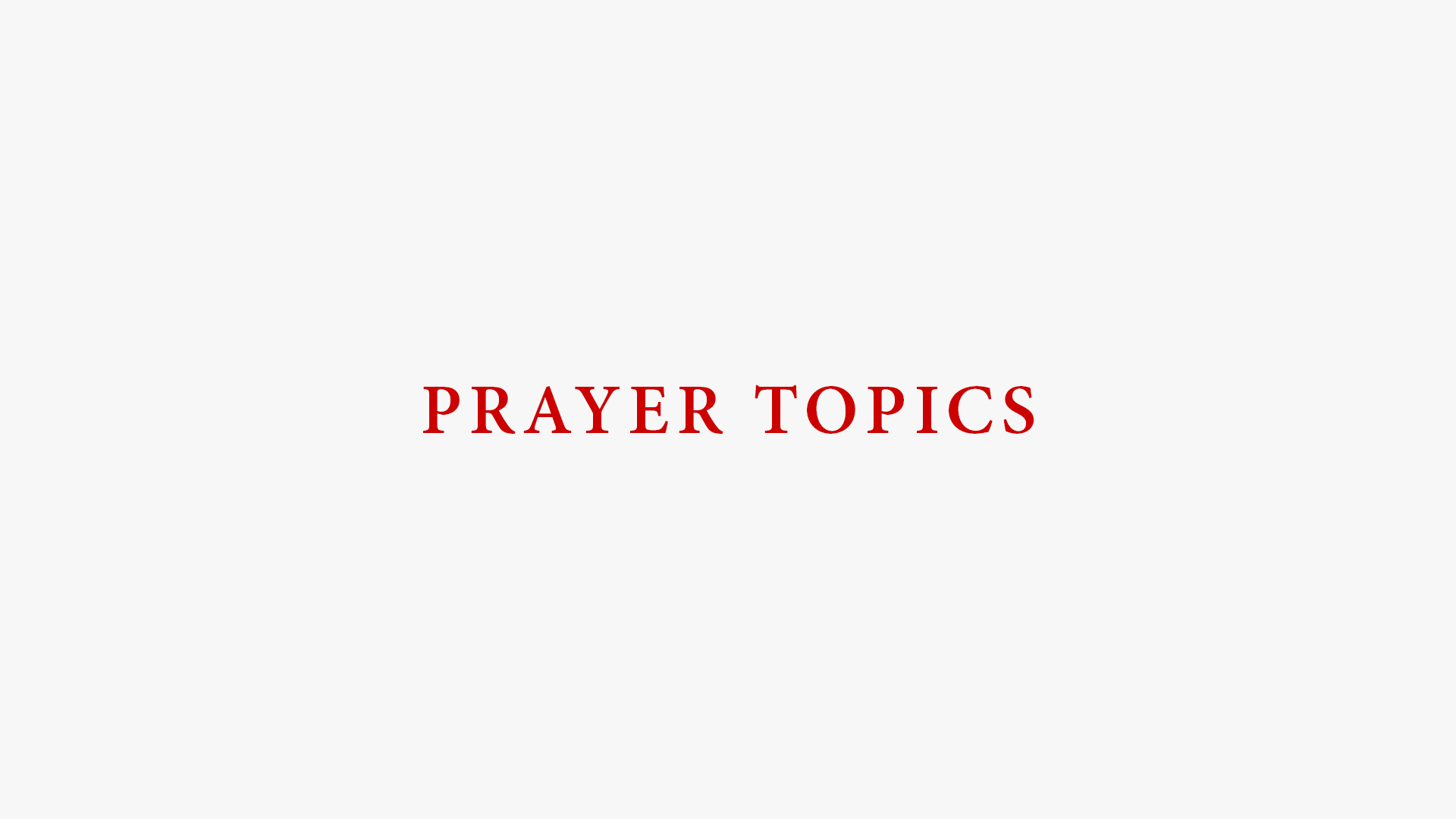 Daily Prayer Topics